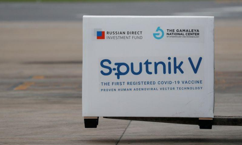 A shipment of doses of the Sputnik V (Gam-Covid-Vac) vaccine against the coronavirus is seen after arriving at Ezeiza International Airport, in Buenos Aires, Argentina on Jan 28. — Reuters/File