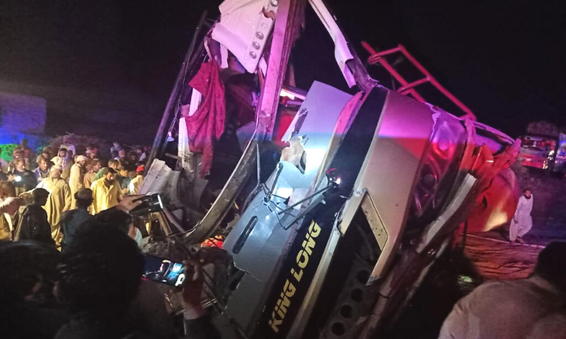 Police said that a passenger coach, which was going from Panjgur to Karachi, overturned at a sharp turn at the Quetta-Karachi highway at around 2am. — Photo provided by Ismail Sasoli