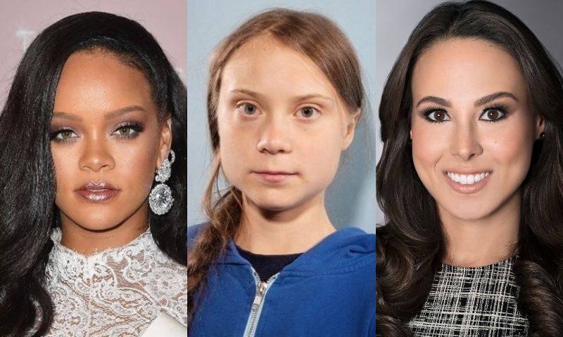 This combination photo shows US popstar Rihanna (L), Climate activist Greta Thunberg (C) and Meena Harris. – Twitter