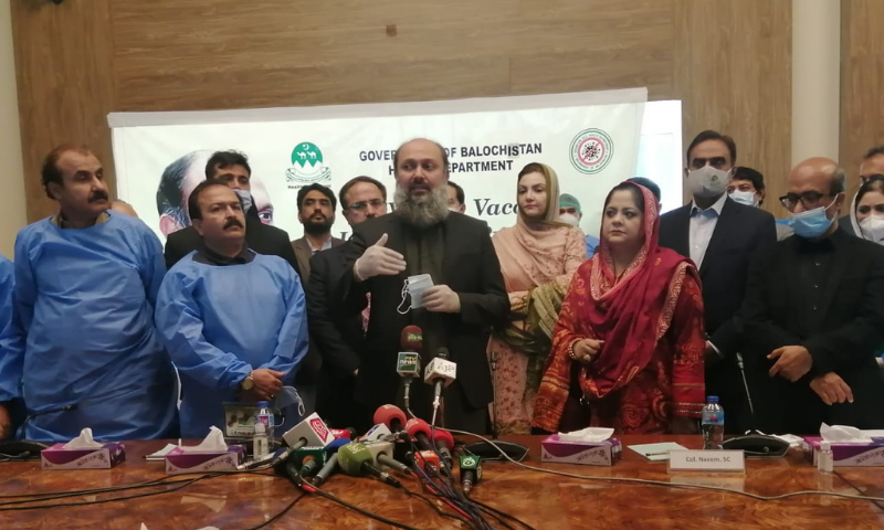 Flanked by officials, Balochistan CM Jam Kamal addresses the inauguration ceremony of the Covid-19 vaccination drive. — Photo provided by Ghalib Nihad