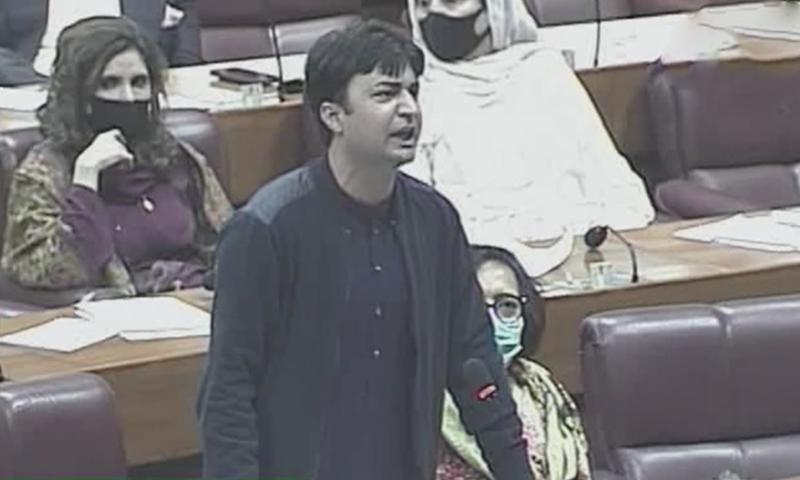مراد سعید اپنی تقریر مکمل نہیں کر پائے-فوٹو: ڈان نیوز