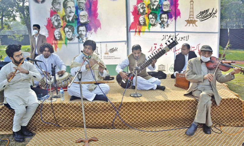 Musicians perform at a plaque unveiling ceremony at the Alhamra Arts Council to mark Unesco honour conferred upon Lahore. — Online