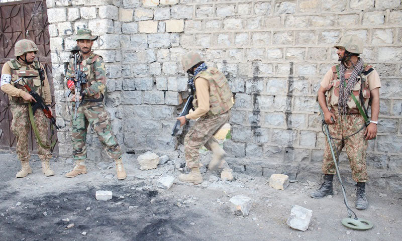Four terrorists were killed during an exchange of fire with security forces in the Mir Ali area of North Waziristan tribal district. — File