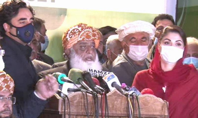 PDM leaders speak to reporters after their meeting on Thursday. — DawnNewsTV