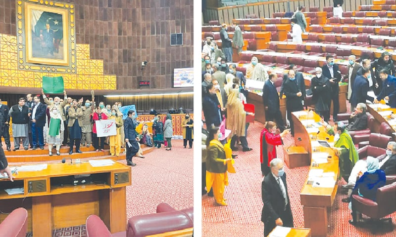 OPPOSITION members holding a protest in front of the speaker's dais in the National Assembly on Thursday and (right) federal minister Shireen Mazari and an opposition lawmaker arguing with each other.—Dawn