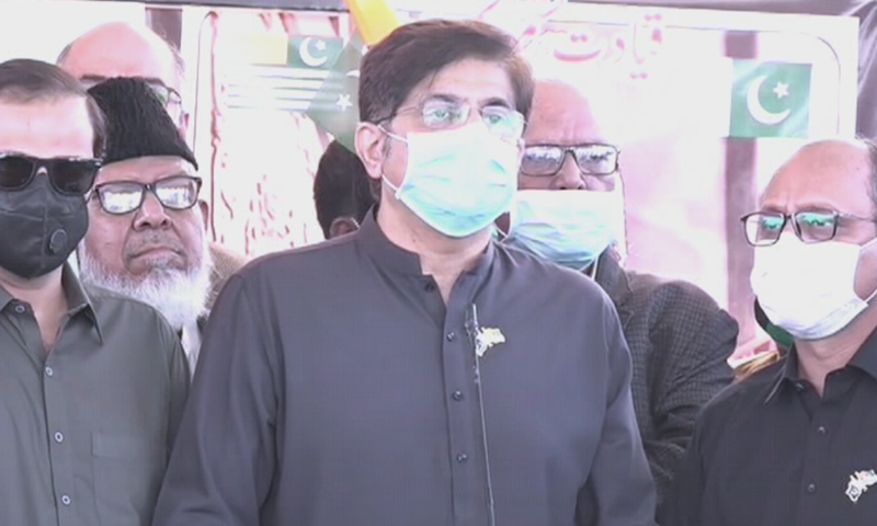 Sindh Chief Minister Murad Ali Shah participates in a walk held in Karachi on Kashmir Solidarity Day. — DawnNewsTV