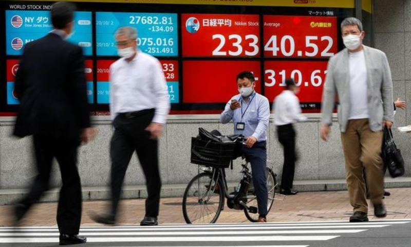 Passersby wearing protective face masks walk past a screen displaying Nikkei share average and world stock indexes outside a brokerage, amid the coronavirus disease outbreak, in Tokyo, Japan October 5, 2020. — Reuters