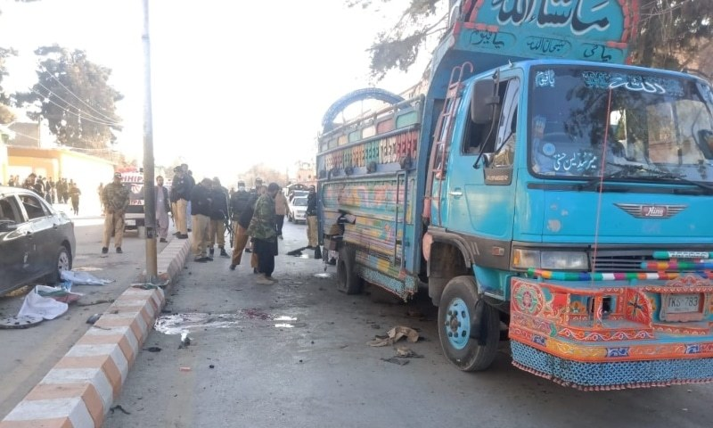 At least two people were killed and four others injured in an explosion near the DC office on Inscomb Road in Quetta on Friday. — Photo provided by auhor