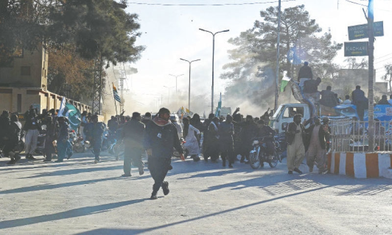 QUETTA: Protesters gather at the site of a bomb attack during a rally organised to mark the Kashmir Solidarity Day on Friday.—AFP