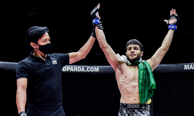 Pakistan's Ahmed Mujtaba aka Wolverine defeated Indian athlete Rahul Raju aka The Kerala Krusher in only 56 seconds in the first round of the mixed martial arts (MMA) competition ONE Championship at the Singapore Indoor Stadium on Friday. — Photo courtesy: ONE Championship