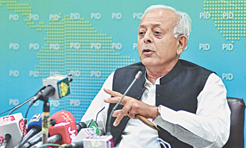 Aviation Minister Ghulam Sarwar Khan addresses a press conference