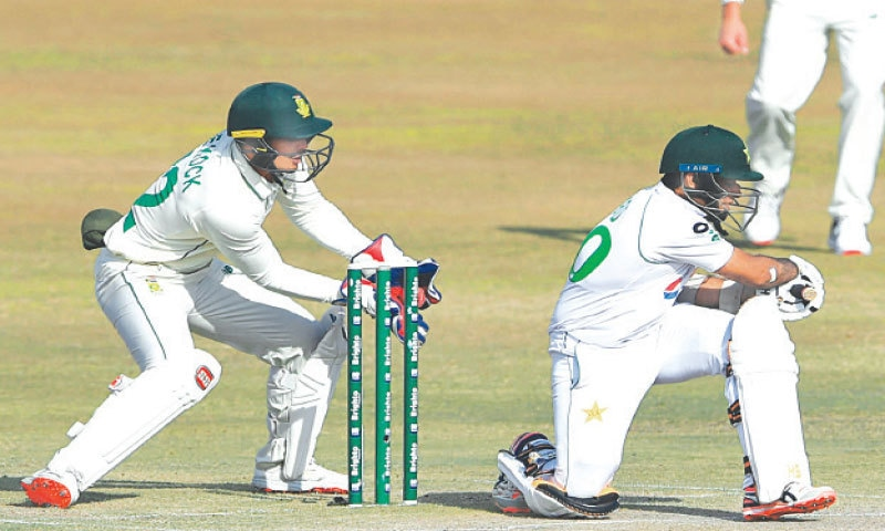 PAKISTAN opener Abid Ali is caught behind by South African captain Quinton de Kock off the bowling of Keshav Maharaj.—AFP