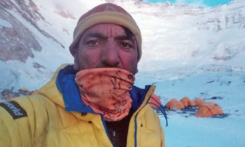 In this file photo, Muhammad Ali Sadpara is seen near camp 2 of Lhotse peak in Nepal. — Dawn