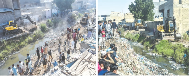 Heavy machinery at work demolishing encroachments along the Gujjar Nullah in New Karachi on Monday as locals look on.—Fahim Siddiqi/White Star