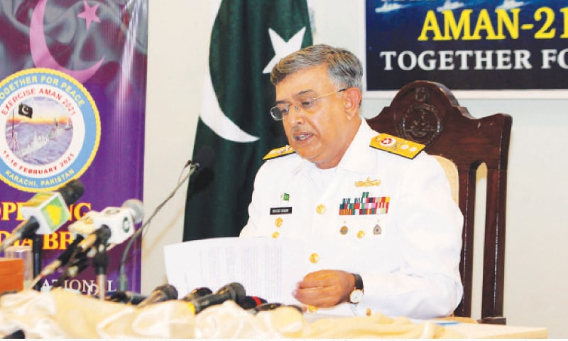 REAR Admiral Naveed Ashraf speaking to journalists during a press conference on Monday.—PPI