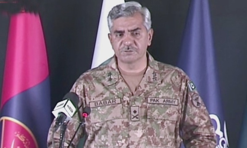 In this file photo, Director General of Inter-Services Public Relations (ISPR) Maj Gen Babar Iftikhar addresses a press conference.. — DawnNewsTV/File