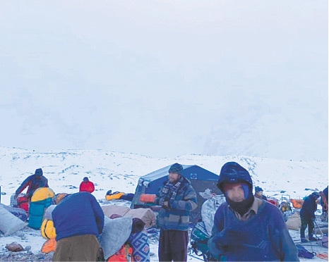 EXPEDITION members prepare to return to Skardu from K2 base camp.
