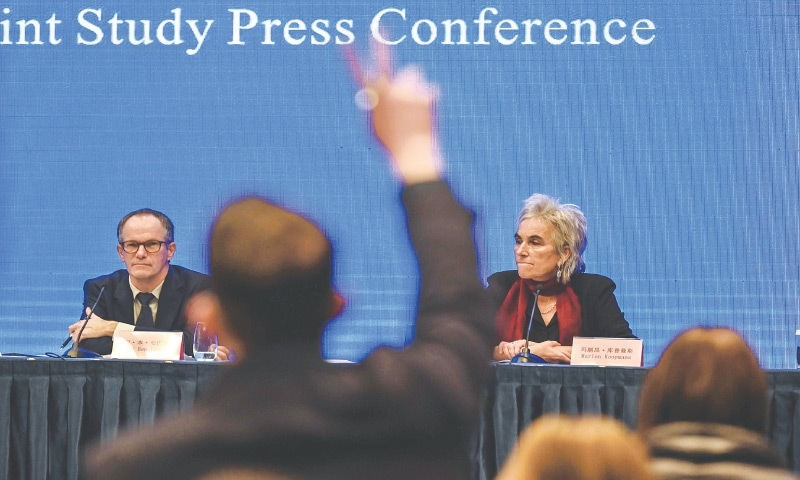 PETER Ben Embarek (left) and Marion Koopmans attend a press conference to wrap up a visit to Wuhan by an international team of experts from the World Health Organisation.—AFP