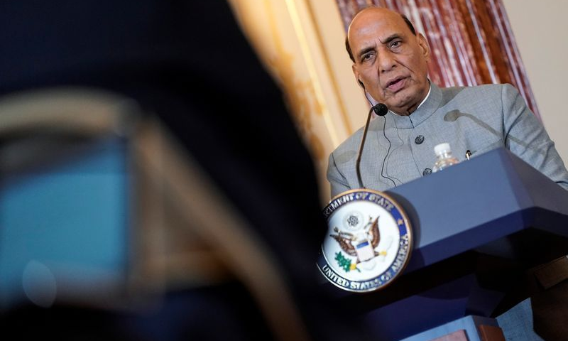In this file photo, Indian Defence Minister Rajnath Singh speaks to the media after the 2019 US-India 2+2 Ministerial Dialogue at the State Department in Washington. — Reuters via Yahoo News