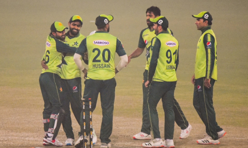 Players of the Pakistan team are seen at the Gaddafi Stadium in Lahore on Thursday. — Photo courtesy: PCB Twitter