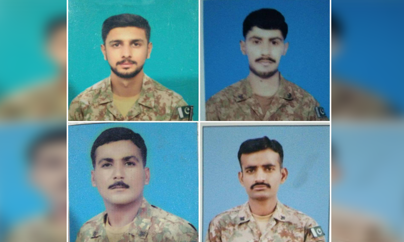 Four soldiers were martyred after terrorist's opened fire on a security forces post in Makeen, South Waziristan late last night. — Photo courtesy ISPR
