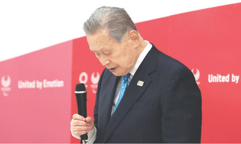 Tokyo: Olympics organising committee president Yoshiro Mori announces his resignation at a meeting with council and executive board members at the committee headquarters on Friday. — AP