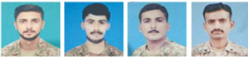 Martyred soldiers Lance Naik Imran Ali, Sepoy Atif Jehangir, Sepoy Aziz and Sepoy Anees Rehman.—INP