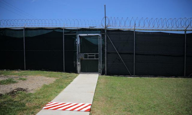 An exit door where released detainees are turned over to the countries that have agreed to accept them is seen at the Guantanamo Bay US Naval Base, Cuba. — Reuters/File