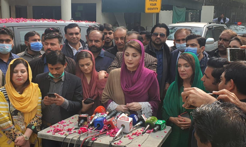 PML-N Vice President Maryam Nawaz addresses the media in Lahore before setting out for the Daska rally. — Photo courtesy author