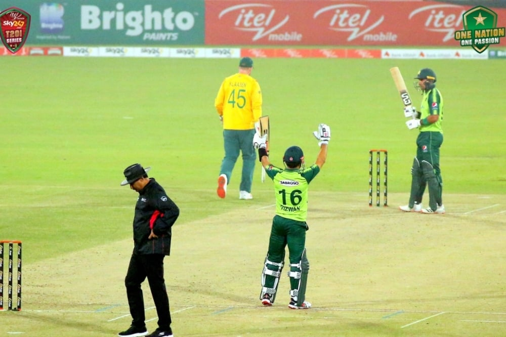 Mohammad Rizwan raises his arms during the second T20I against South Africa at Gaddafi Stadium. — Photo courtesy PCB