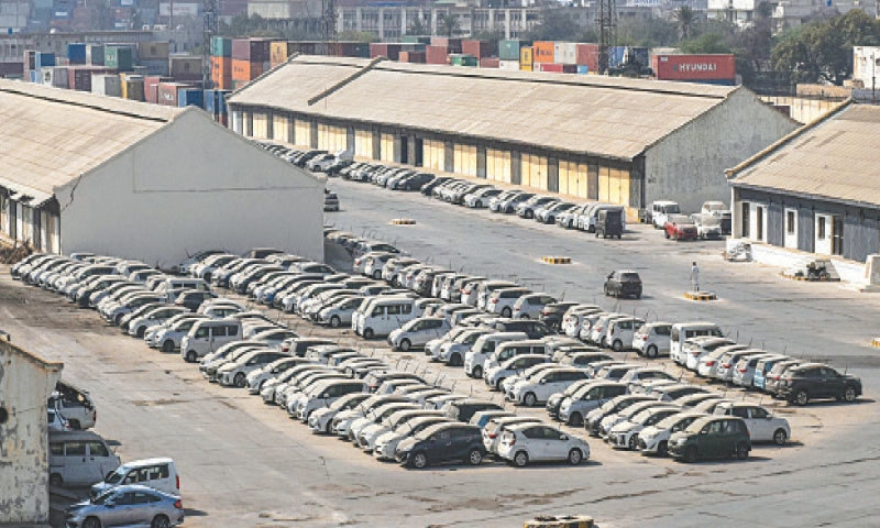 KARACHI: A number of used imported vehicles are parked at the port on Saturday.—Fahim Siddiqi/White Star