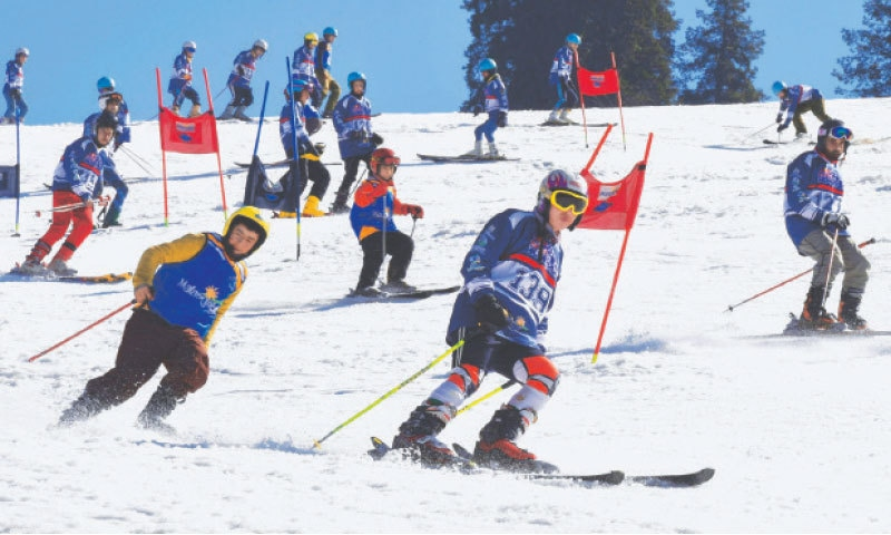 Skiers take part in the event held at the Malam Jabba ski resort in the Swat Valley  on Saturday.—AFP