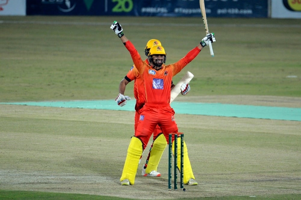 Danish Aziz celebrates after hitting a match-winning last-ball six, Khyber Pakhtunkhwa vs Sindh, National T20 Cup, Rawalpindi, October 13, 2020. — Photo courtesy PCB