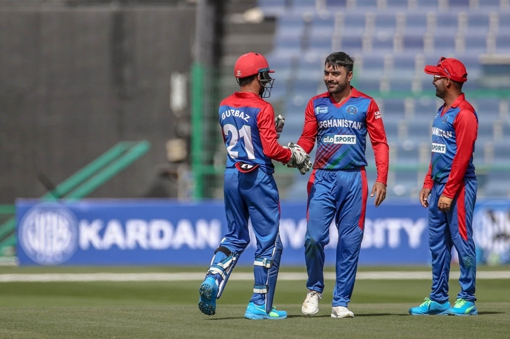 Rashid Khan celebrates a breakthrough, Afghanistan vs Ireland, 2nd ODI, Abu Dhabi, January 24, 2021. — Photo courtesy Abu Dhabi Cricket