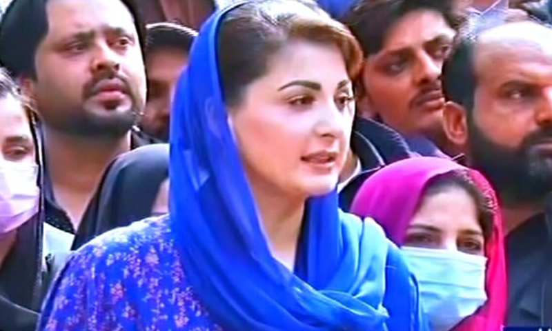 Maryam Nawaz speaks to reporters in Lahore before setting out for Wazirabad. — DawnNewsTV
