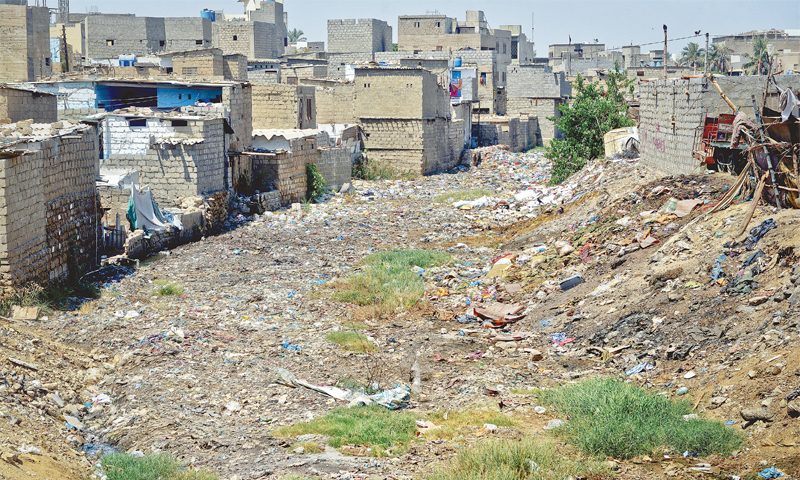 An anti-encroachment tribunal restrained on Monday the Karachi Metropolitan Corporation (KMC) from demolishing the houses built over duly leased land during an ongoing operation along Gujjar Nullah. —Fahim Siddiqi / White Star