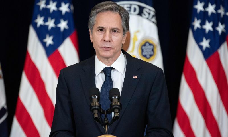 امریکی وزیر خارجہ انٹونی بلنکن نے تحقیقات کا مطالبہ کیا اور عزم کا اظہار کیا کہ ذمہ داروں کا احتساب کیا جائے گا۔ - فائل فوٹو:اے ایف پی