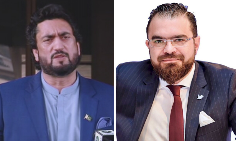 This file combination photo shows Chairman of the Parliamentary Committee on Kashmir Shehryar Afridi (L) and Twitter's regional head George Salama (R). — DawnNewsTV/Twitter