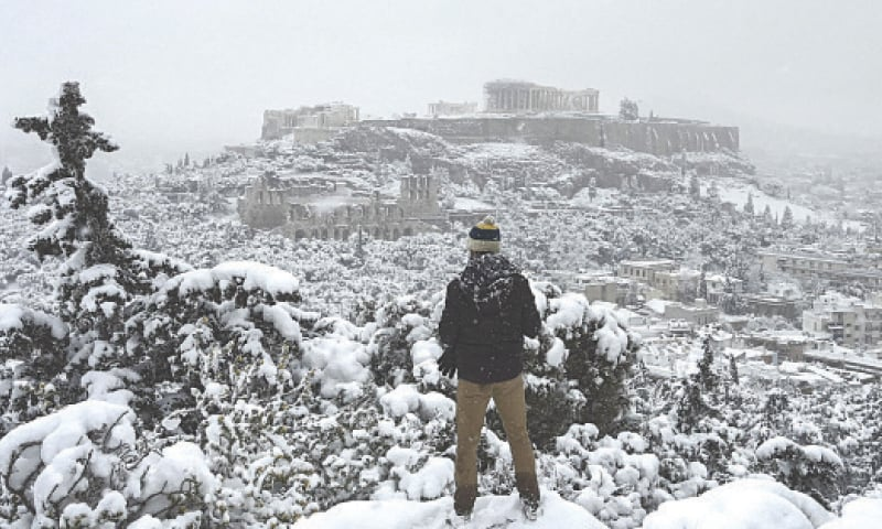 Snow is common in Greece's mountains and in the north of the country, but much rarer in the capital.