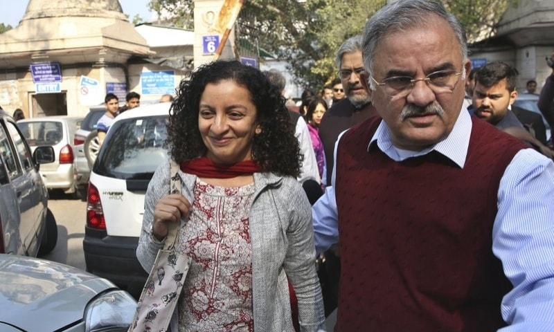 In this Feb 25, 2019, file photo, Indian journalist Priya Ramani, left, smiles as she leaves Patiala House Court in New Delhi, India. — AP/File