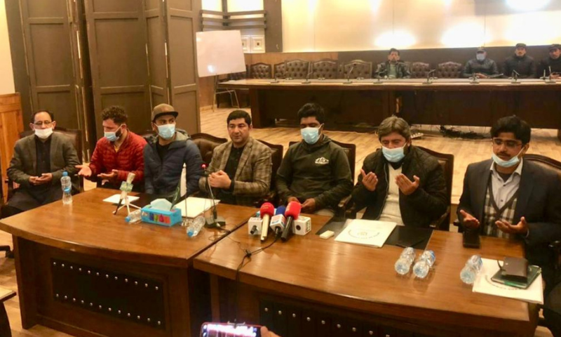 Families and friends of the three climbers are seen at the press conference in Skardu on Thursday. — Photo courtesy: Alpine Club of Pakistan