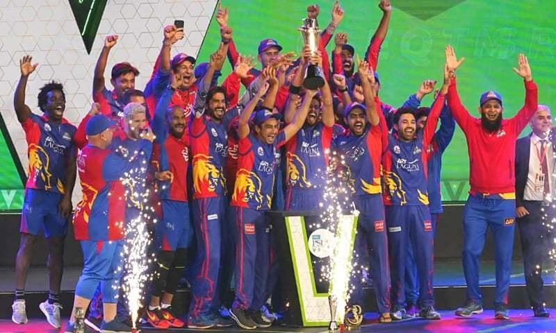 In this file photo, Karachi Kings lift their maiden PSL trophy in 2020. — DawnNewsTV