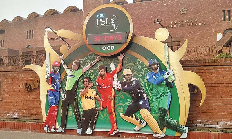 A mural displayed outside the Gaddafi Stadium shows a countdown to the fifth edition of the Pakistan Super League. —M. Arif/White Star