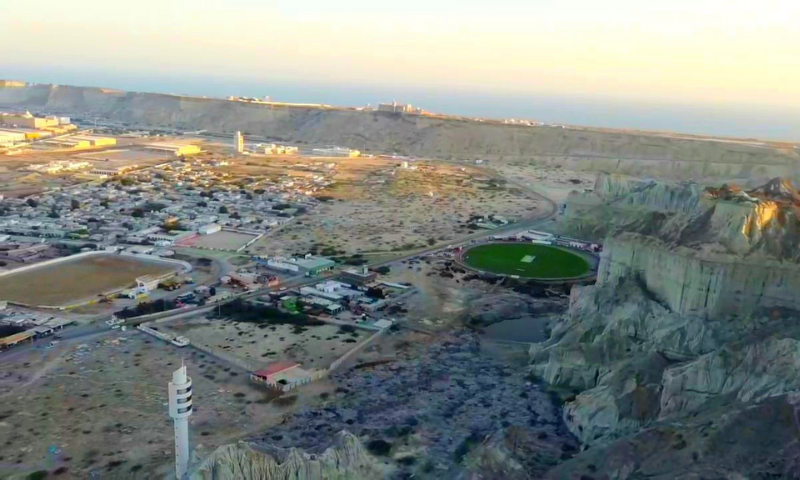 An aerial view of the Gwadar Cricket Stadium and its surroundings. — Ministry of Overseas Pakistanis and HRD Twitter account