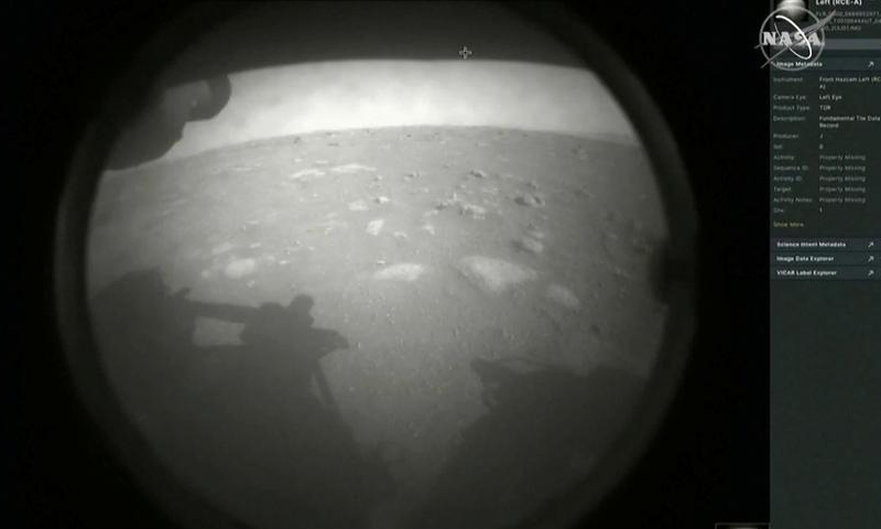 The first images arrive moments after Nasa's Perseverance Mars rover spacecraft successfully touched down on Mars, at Nasa's Jet Propulsion Laboratory in Pasadena, California, US, February 18. — Reuters