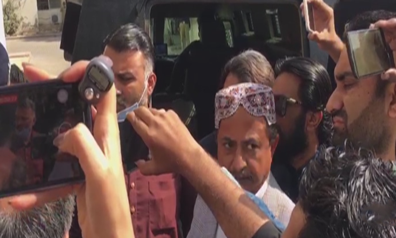 Leader of the Opposition in the Sindh Assembly Haleem Adil Sheikh seen during his court appearance on Friday. — DawnNewsTV