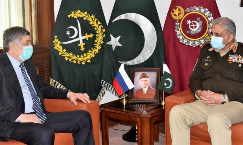 Russian President's Special Envoy for Afghanistan Zamir Kabulov calls on Army Chief Gen Qamar Jawed Bajwa at the General Headquarters on Friday. — Photo courtesy ISPR