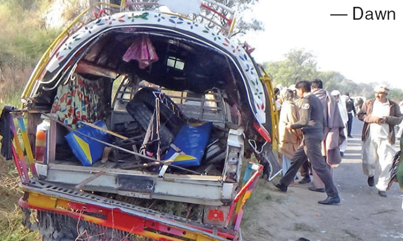 Three children were killed and six others injured when their school van collided with a parked truck near Khanda Mor Adda Israni on Hasilpur Road on Friday. — Dawn/File