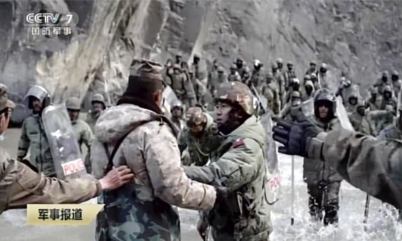 In this image taken from video footage run February 19, 2021, by China's CCTV, Indian and Chinese troops face off in the Galwan Valley on the disputed border between China and India, June 15, 2020. — AP