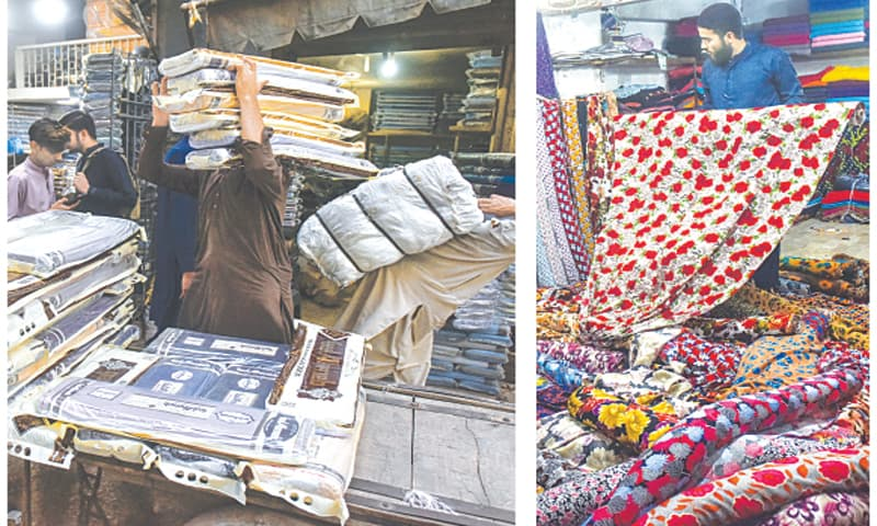 In this picture combo, (left) labourers at Kapra Market behind Memon Masjid are seen unloading fabric bundles arriving from Faisalabad while in the second photograph (right) a shopkeeper displaying unstitched Chinese fabric to consumers.—Fahim Siddiqi/ White Star